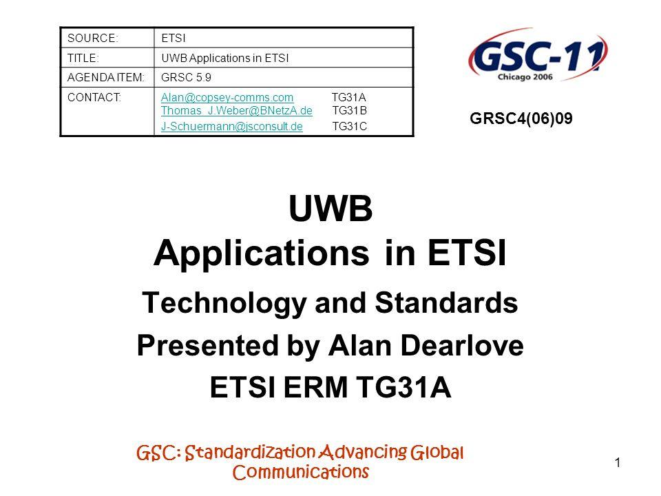 UWB Applications in ETSI