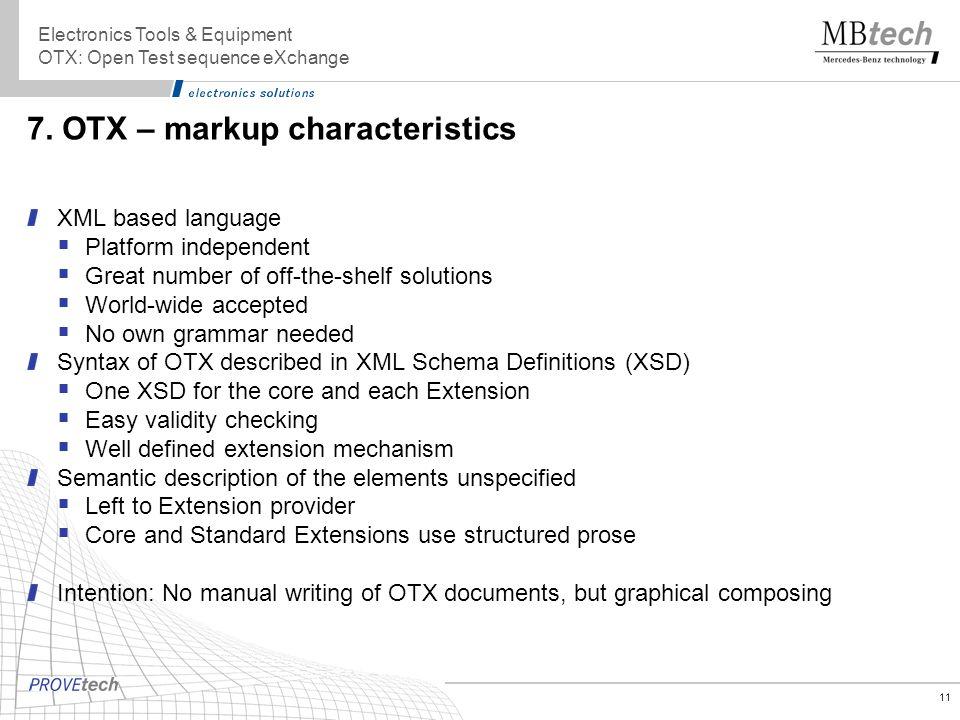 7. OTX – markup characteristics