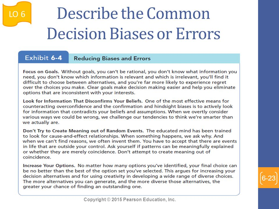 common biases and errors in decision making Common biases & errors in decision making confirmation bias this represents a specific case of selective perception: we seek out information that reaffirms our past choices, and we discount information that contradicts them.