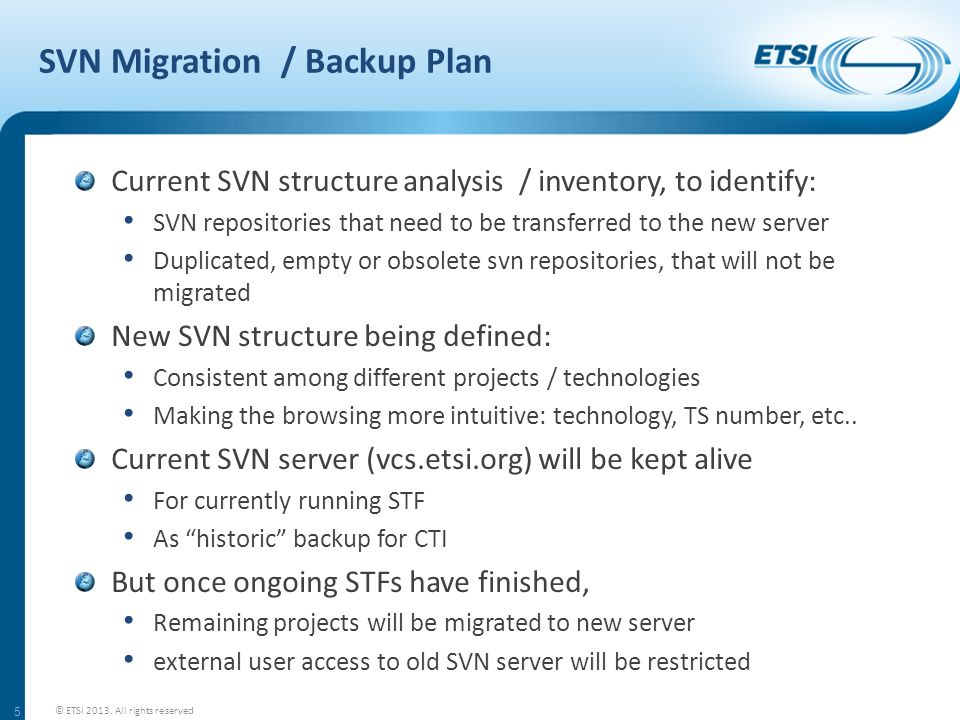 SVN Migration / Backup Plan