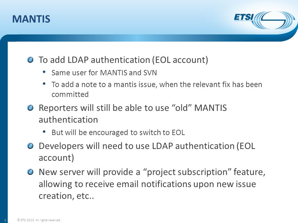 MANTIS To add LDAP authentication (EOL account)