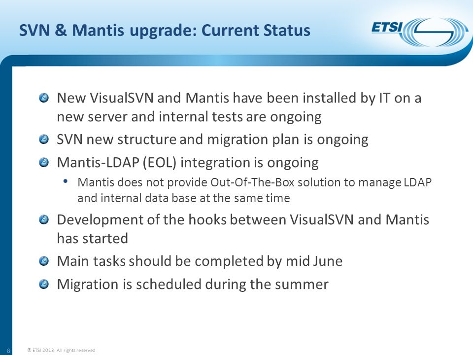 SVN & Mantis upgrade: Current Status