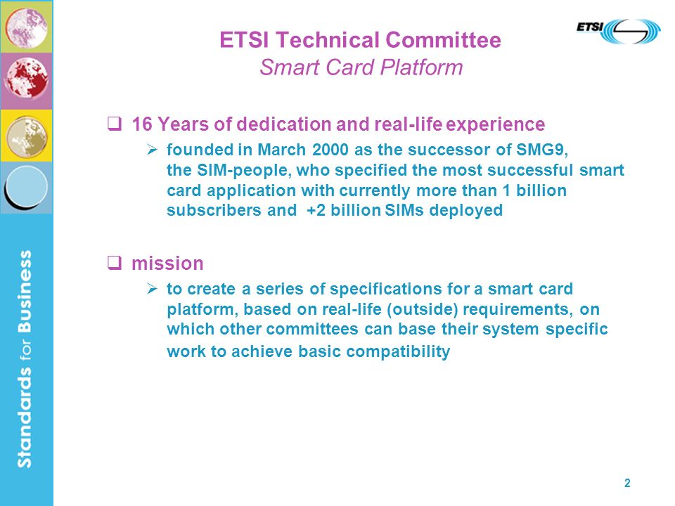 ETSI Technical Committee Smart Card Platform