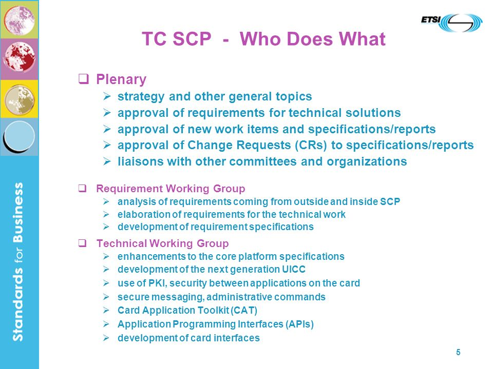 TC SCP - Who Does What Plenary strategy and other general topics