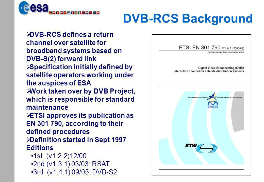DVB-RCS Background DVB-RCS defines a return channel over satellite for broadband systems based on DVB-S(2) forward link.