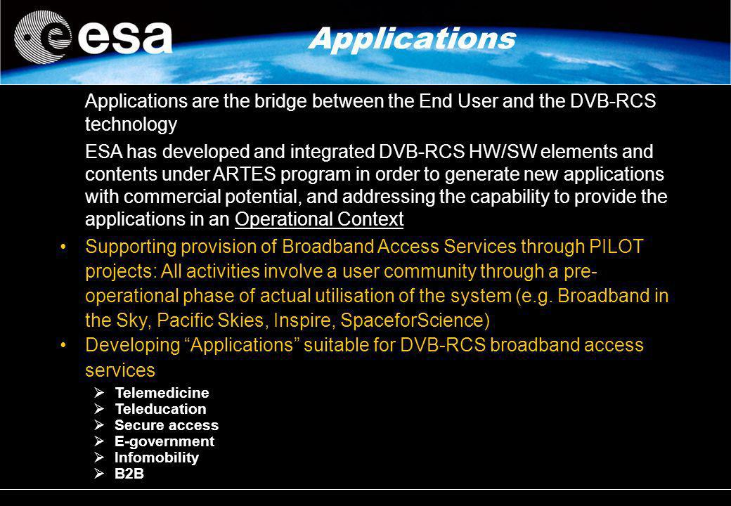 Applications Applications are the bridge between the End User and the DVB-RCS technology.