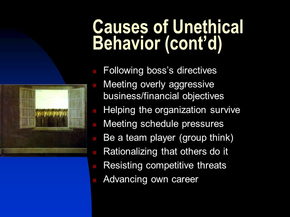 effects of unethical behavior anaylsis Randomly selected members of the association for behavior analysis were   punishment without harmful side effects, thereby making punishment unethical.