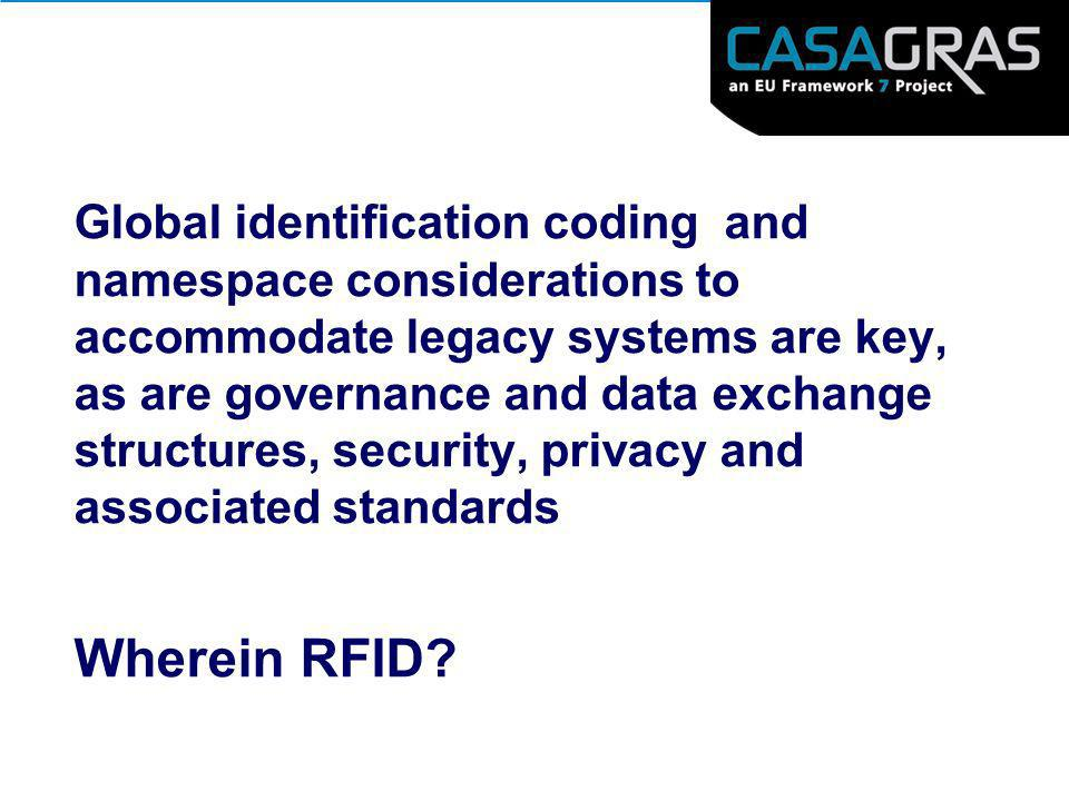 Global identification coding and namespace considerations to accommodate legacy systems are key, as are governance and data exchange structures, security, privacy and associated standards