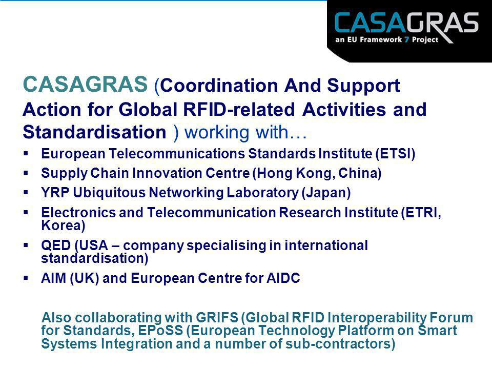 CASAGRAS (Coordination And Support Action for Global RFID-related Activities and Standardisation ) working with…