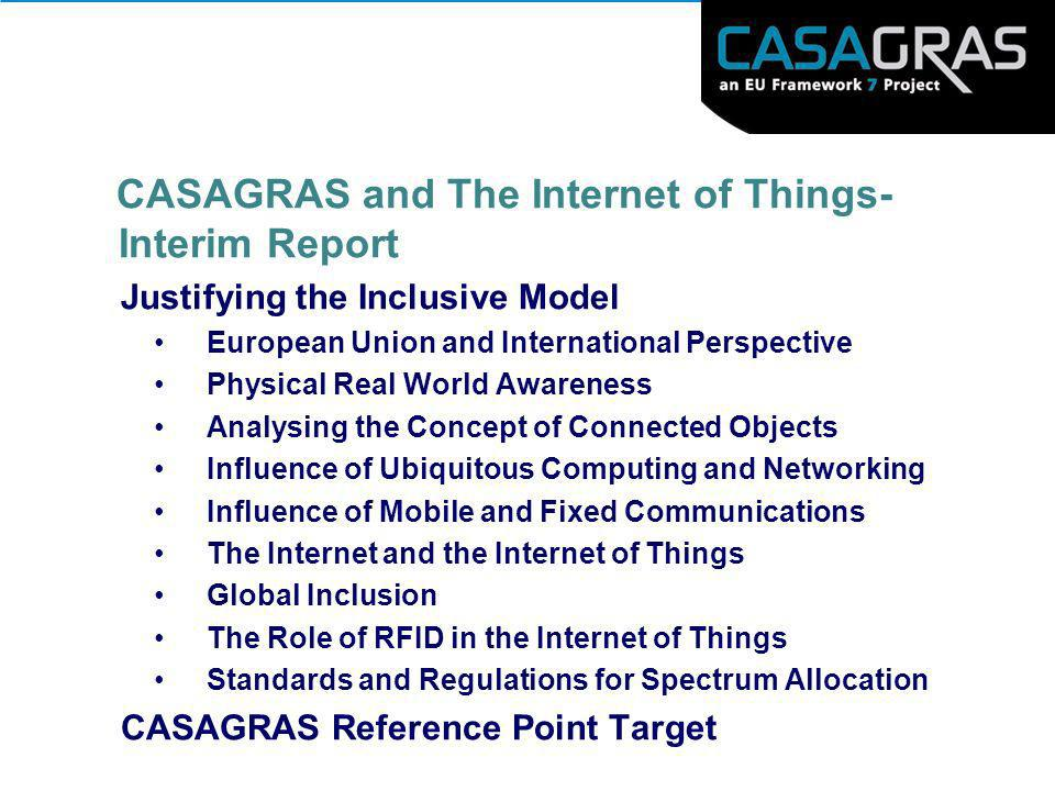 CASAGRAS and The Internet of Things- Interim Report
