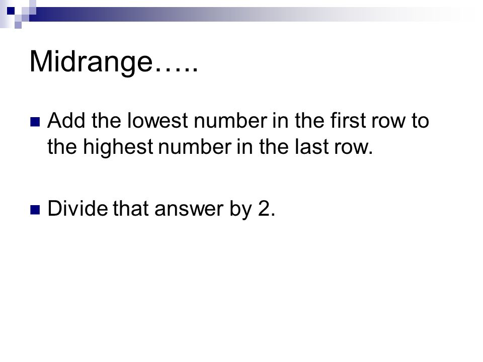 how to find the midrange of a set of numbers