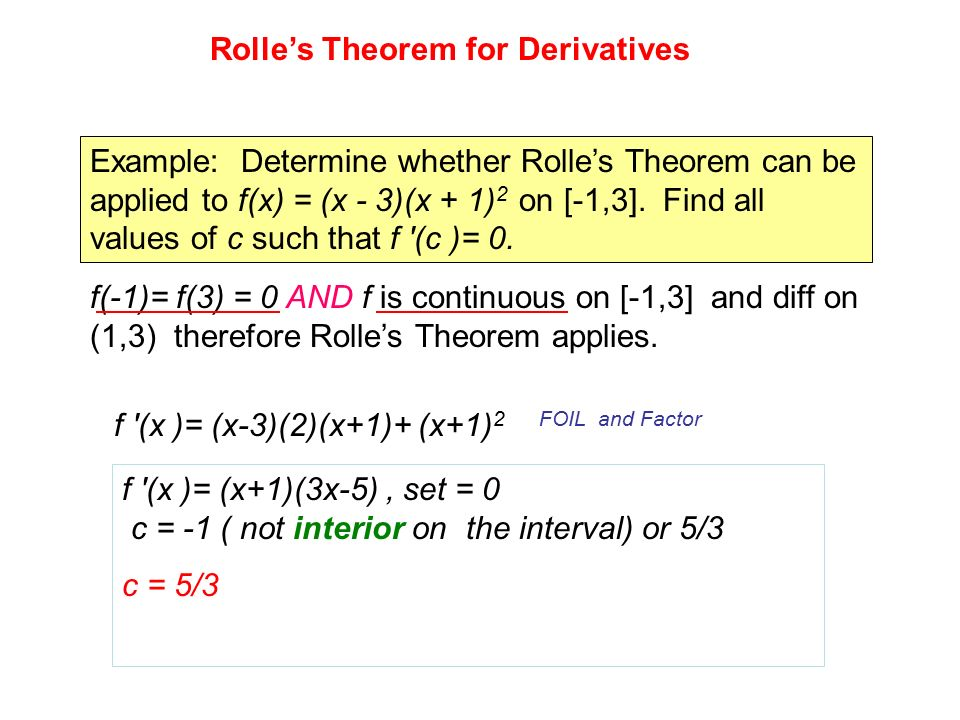 CHAPTER 3 SECTION 3.2 ROLLE'S THEOREM AND THE MEAN VALUE THEOREM ...