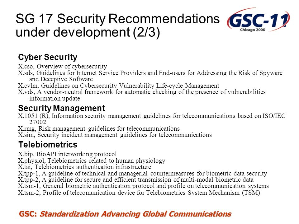SG 17 Security Recommendations under development (2/3)