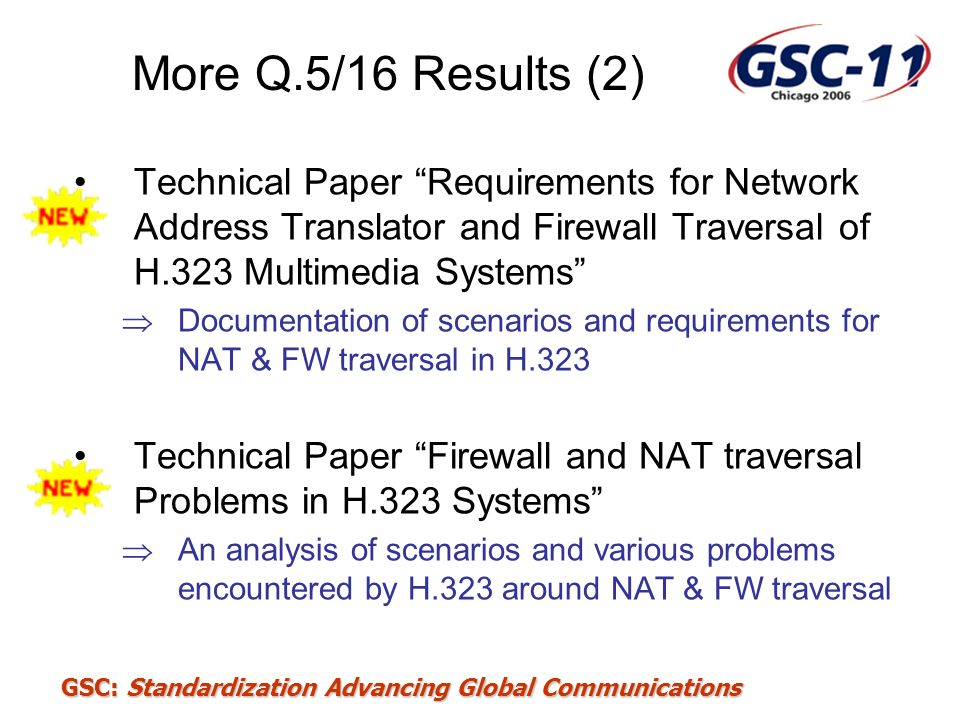 More Q.5/16 Results (2) Technical Paper Requirements for Network Address Translator and Firewall Traversal of H.323 Multimedia Systems