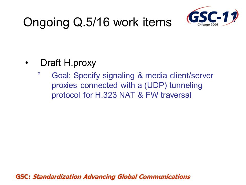 Ongoing Q.5/16 work items Draft H.proxy