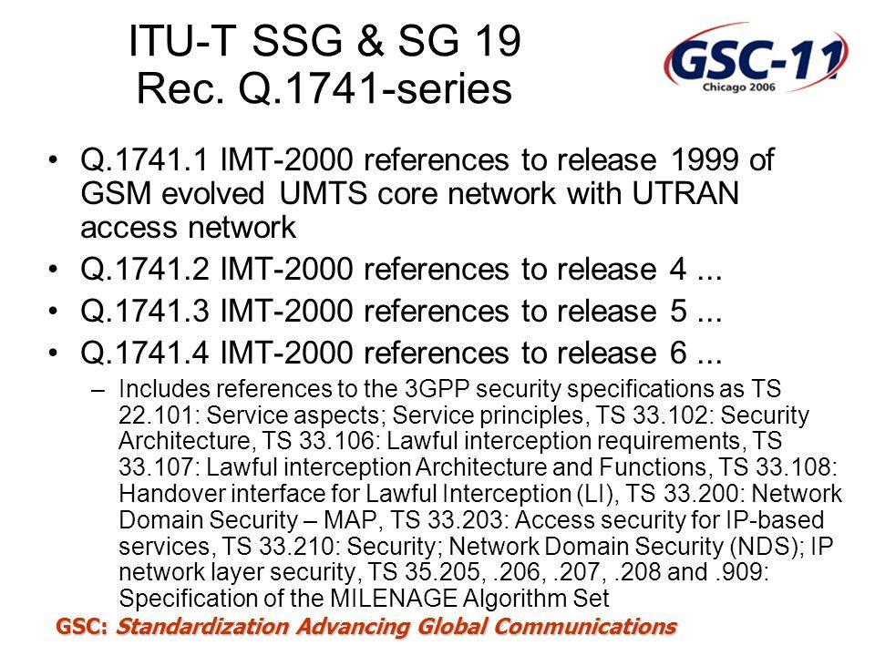 ITU-T SSG & SG 19 Rec. Q.1741-series