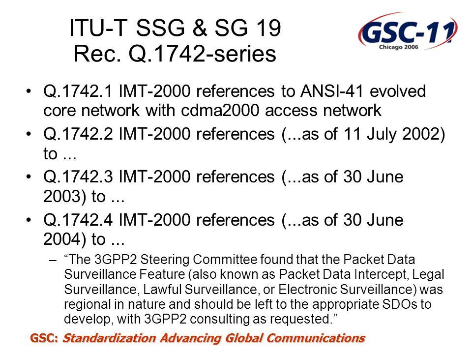 ITU-T SSG & SG 19 Rec. Q.1742-series