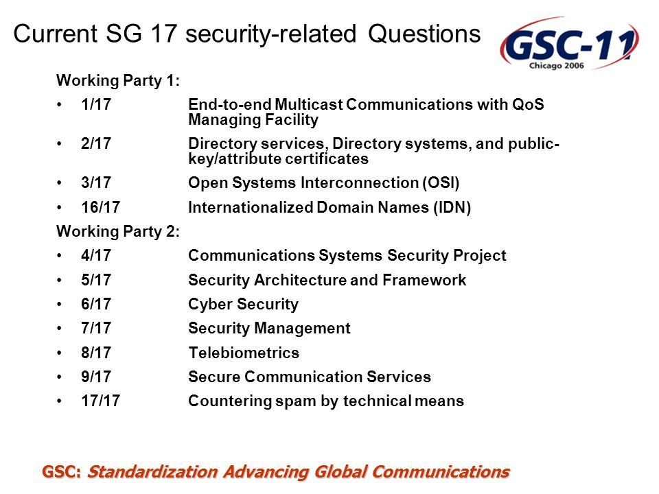Current SG 17 security-related Questions