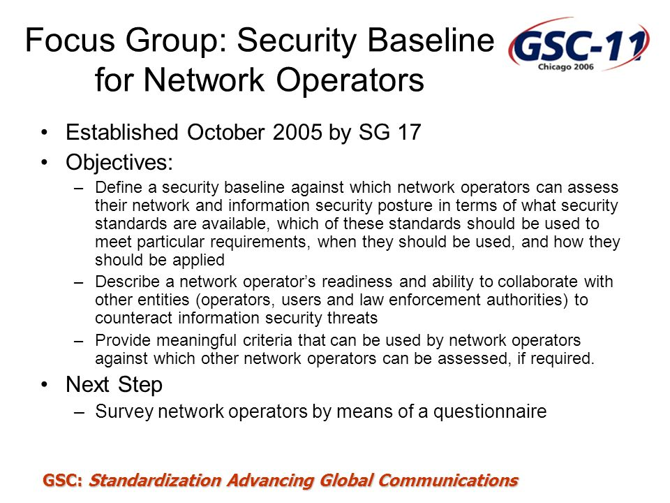 Focus Group: Security Baseline for Network Operators