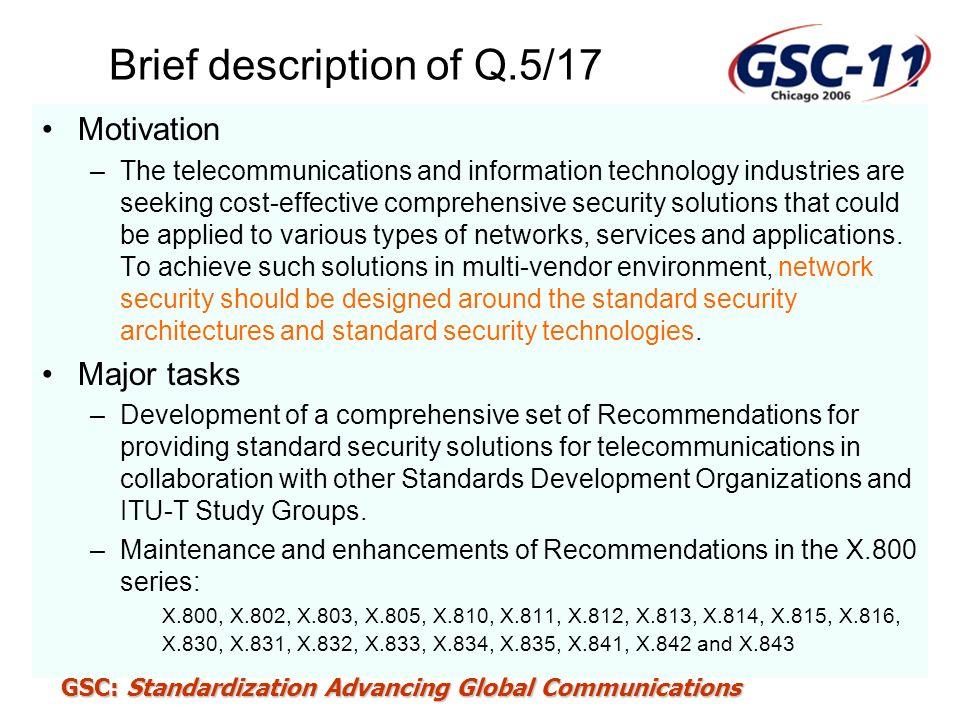 Brief description of Q.5/17