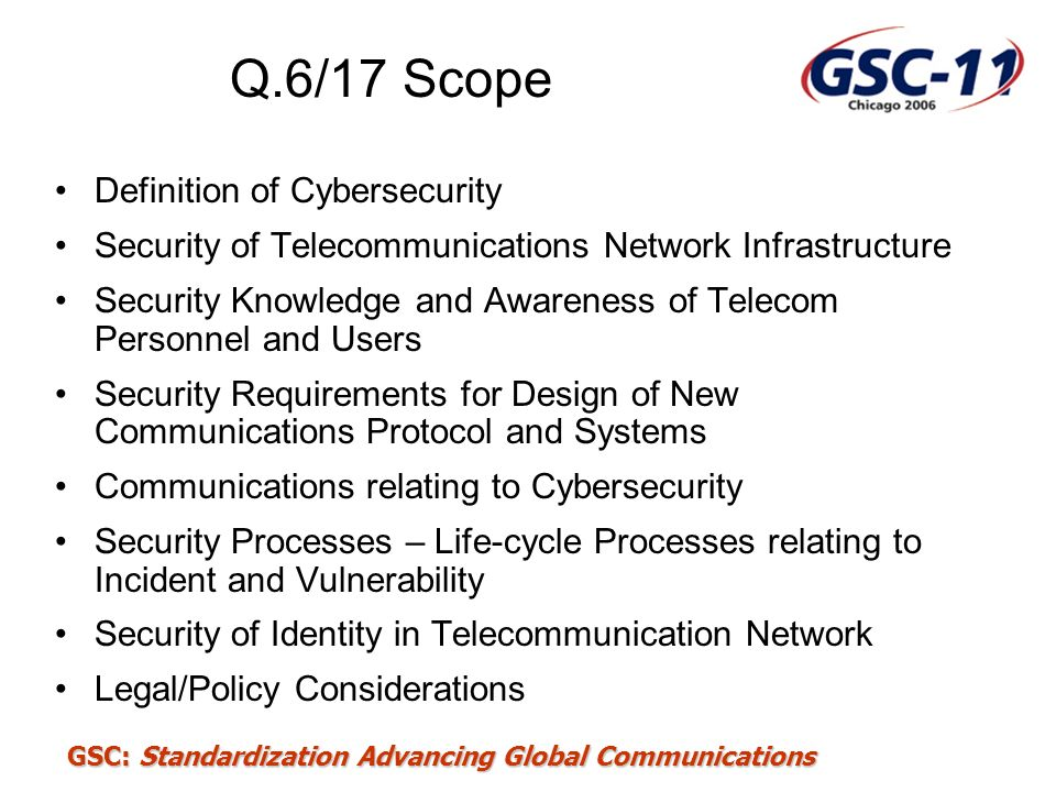 Q.6/17 Scope Definition of Cybersecurity