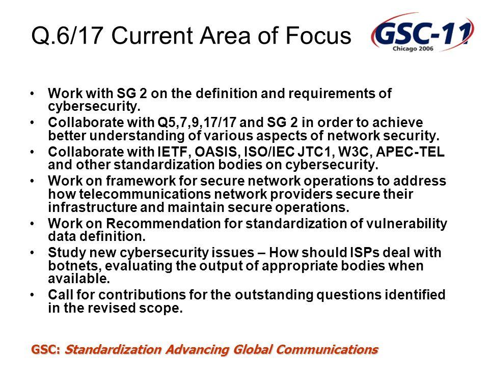 Q.6/17 Current Area of Focus