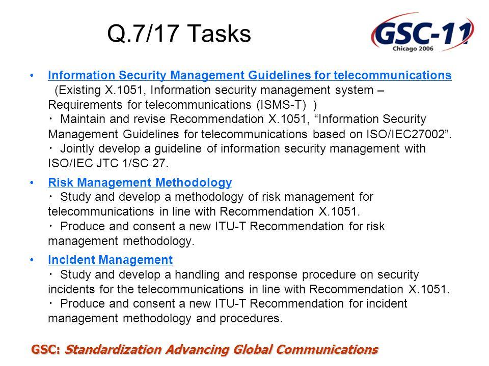 Q.7/17 Tasks