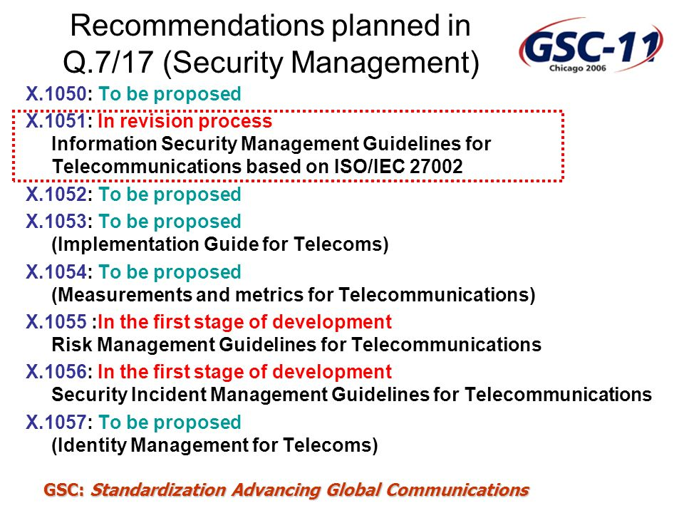 Recommendations planned in Q.7/17 (Security Management)