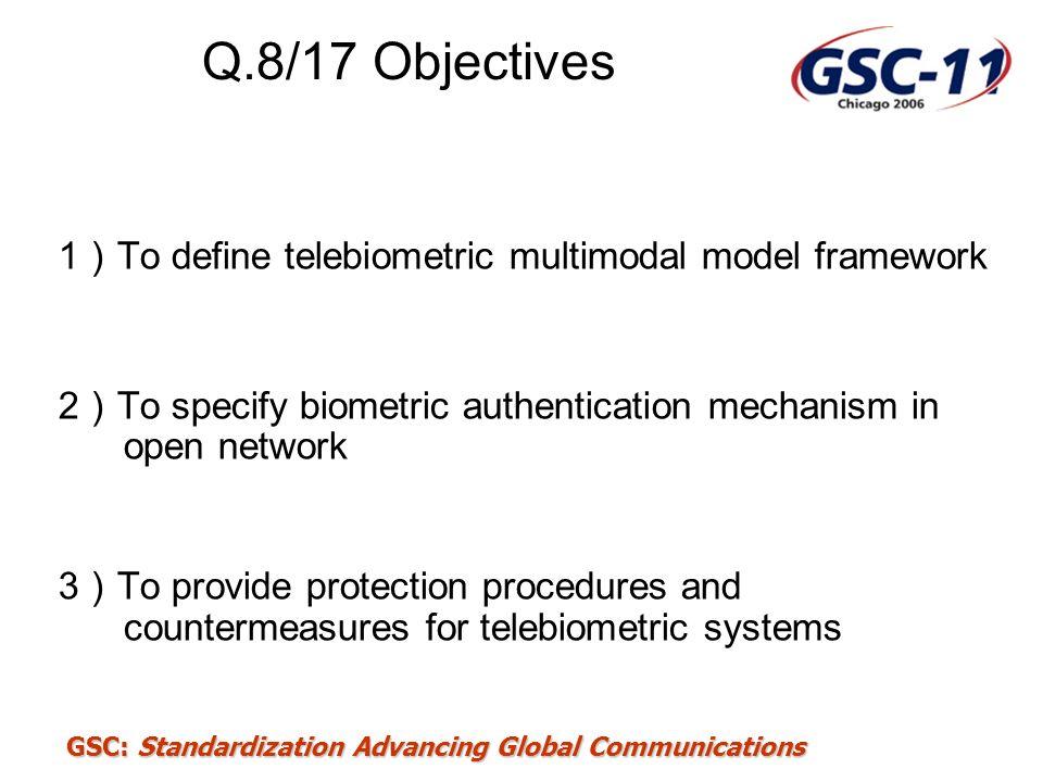 Q.8/17 Objectives 1)To define telebiometric multimodal model framework
