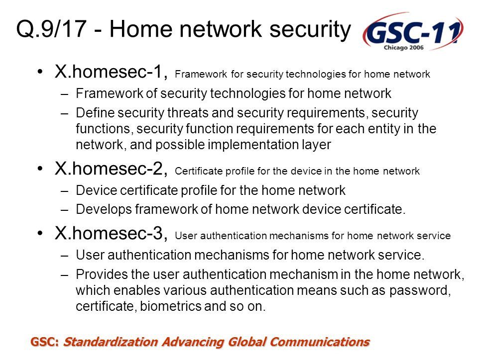 Q.9/17 - Home network security