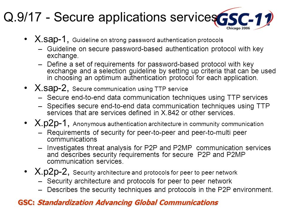 Q.9/17 - Secure applications services