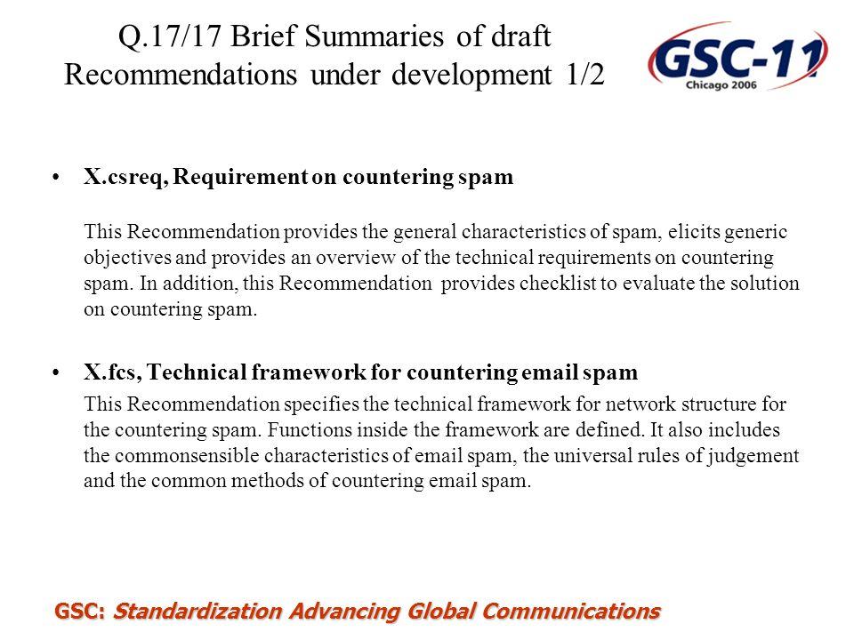 Q.17/17 Brief Summaries of draft Recommendations under development 1/2