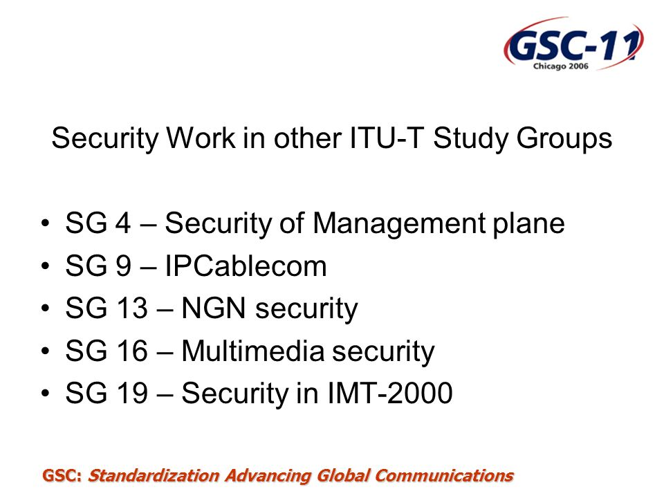 Security Work in other ITU-T Study Groups