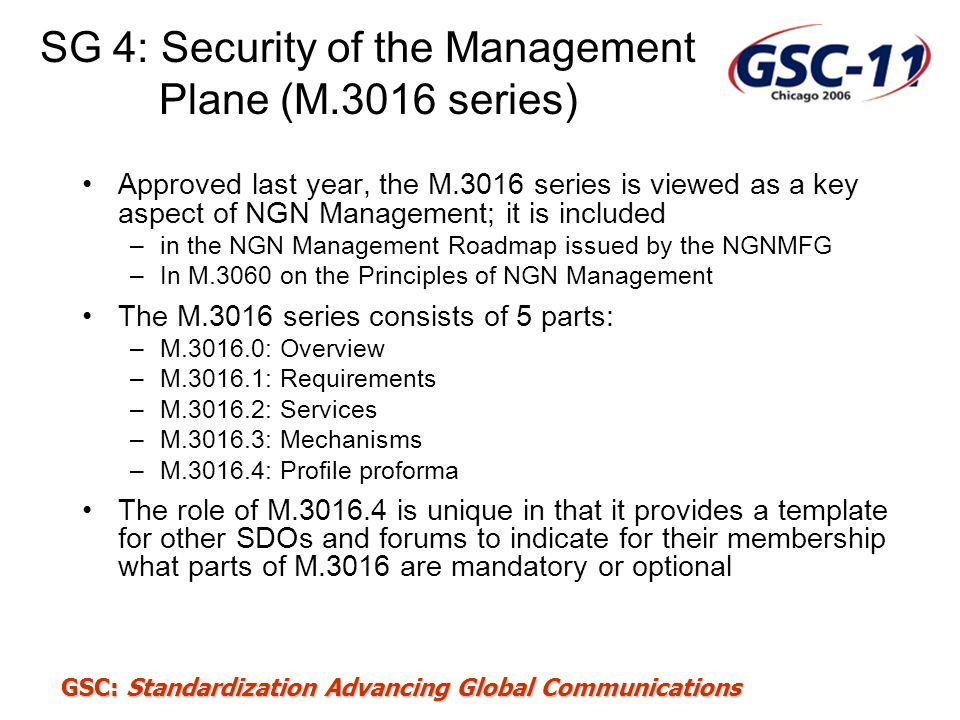 SG 4: Security of the Management Plane (M.3016 series)