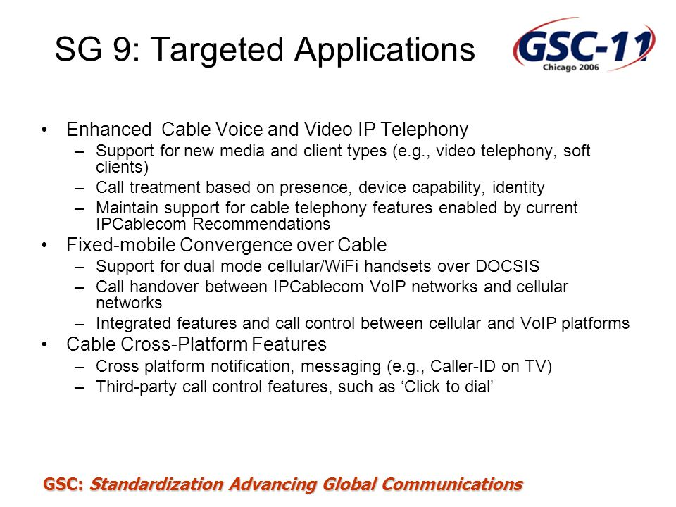SG 9: Targeted Applications