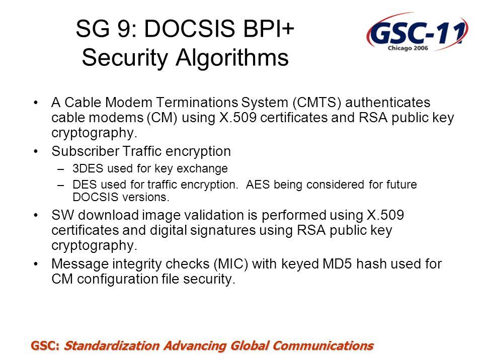 SG 9: DOCSIS BPI+ Security Algorithms