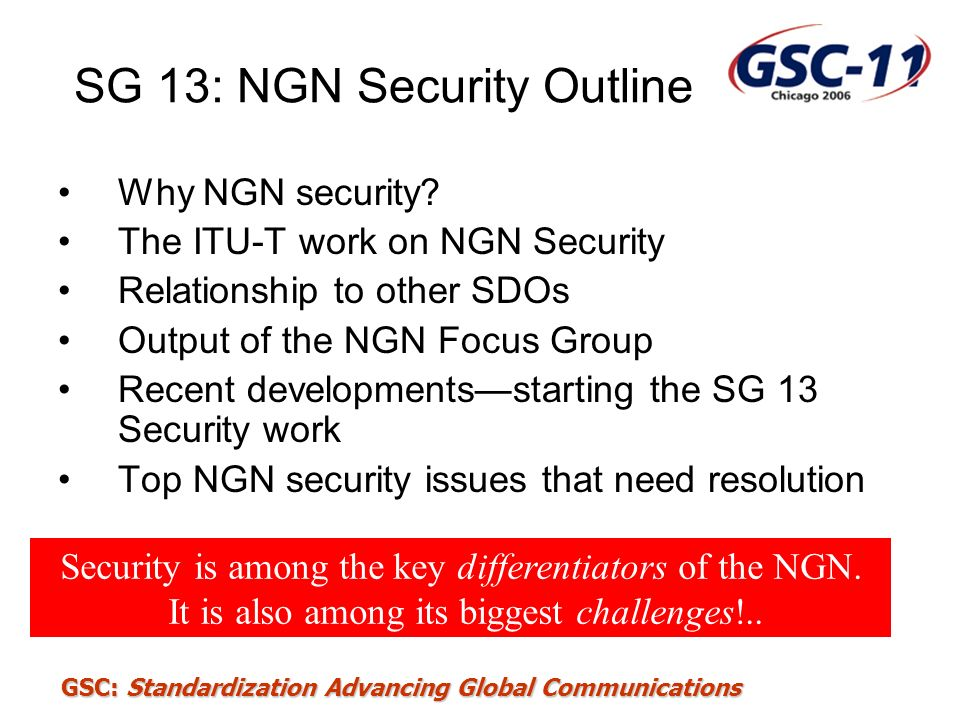 SG 13: NGN Security Outline