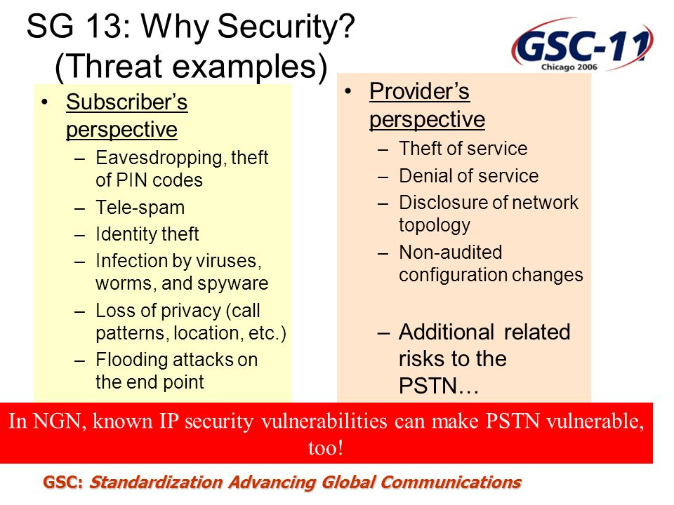 SG 13: Why Security (Threat examples)