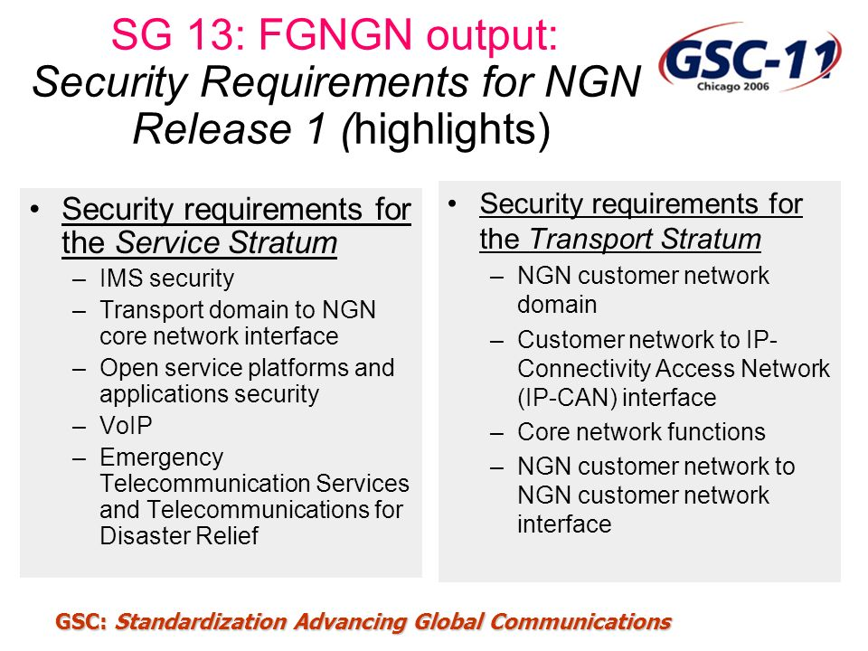SG 13: FGNGN output: Security Requirements for NGN Release 1 (highlights)
