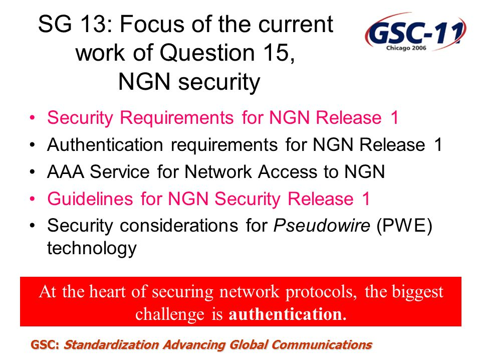 SG 13: Focus of the current work of Question 15, NGN security