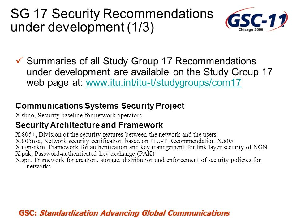 SG 17 Security Recommendations under development (1/3)