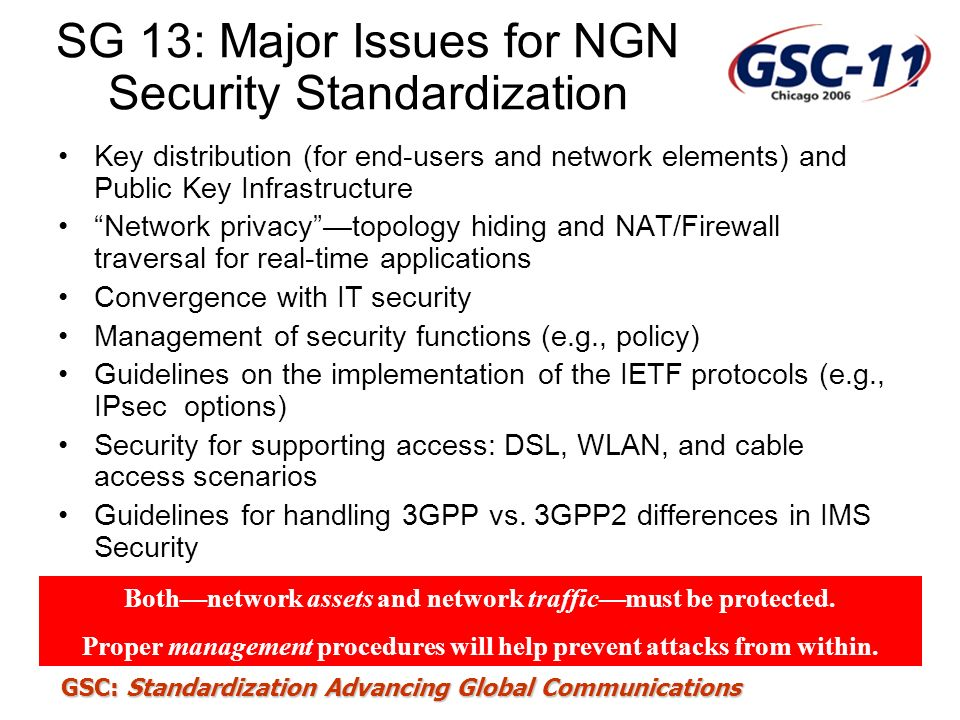 SG 13: Major Issues for NGN Security Standardization