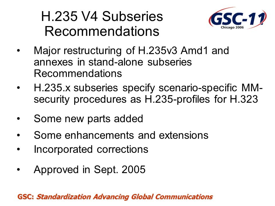 H.235 V4 Subseries Recommendations