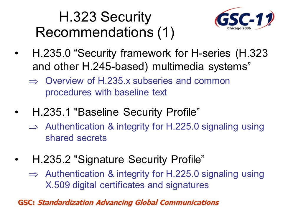 H.323 Security Recommendations (1)