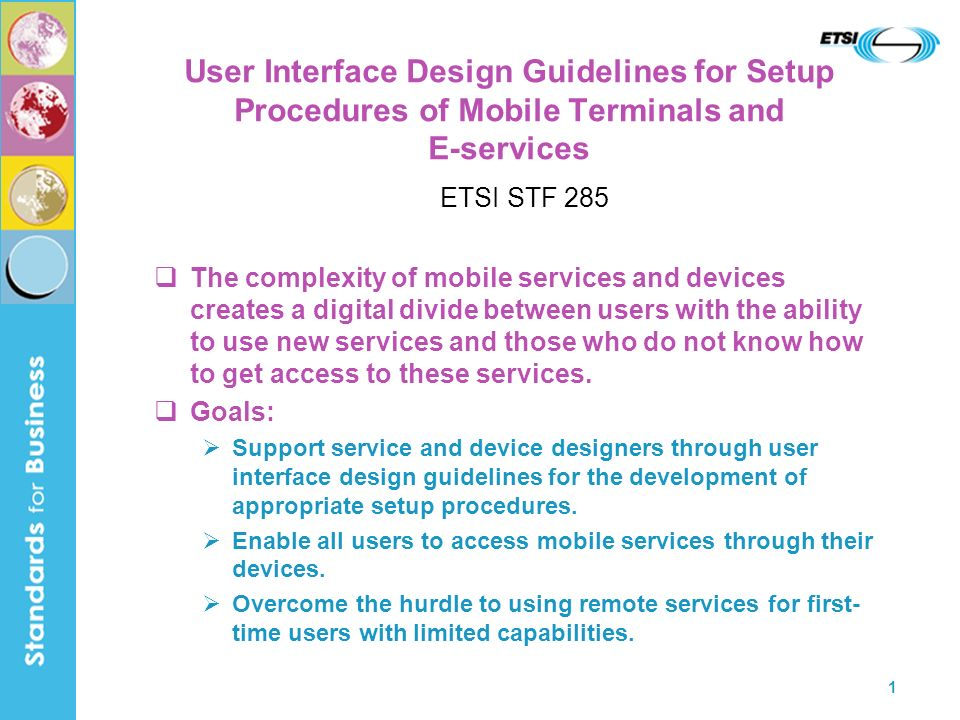 User Interface Design Guidelines for Setup Procedures of Mobile Terminals and E-services