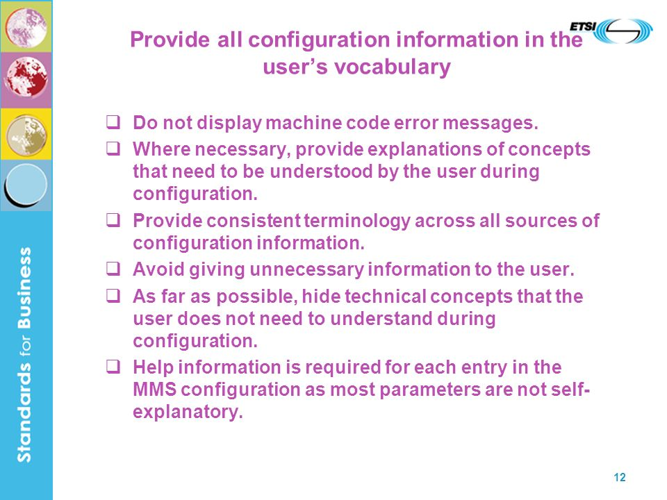 Provide all configuration information in the user's vocabulary
