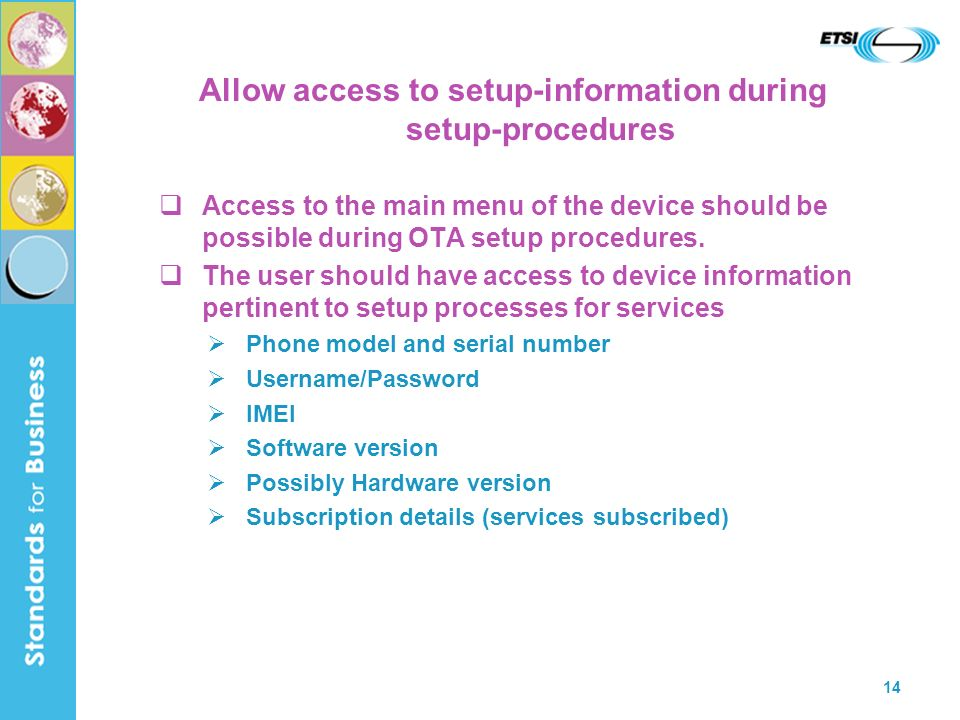 Allow access to setup-information during setup-procedures