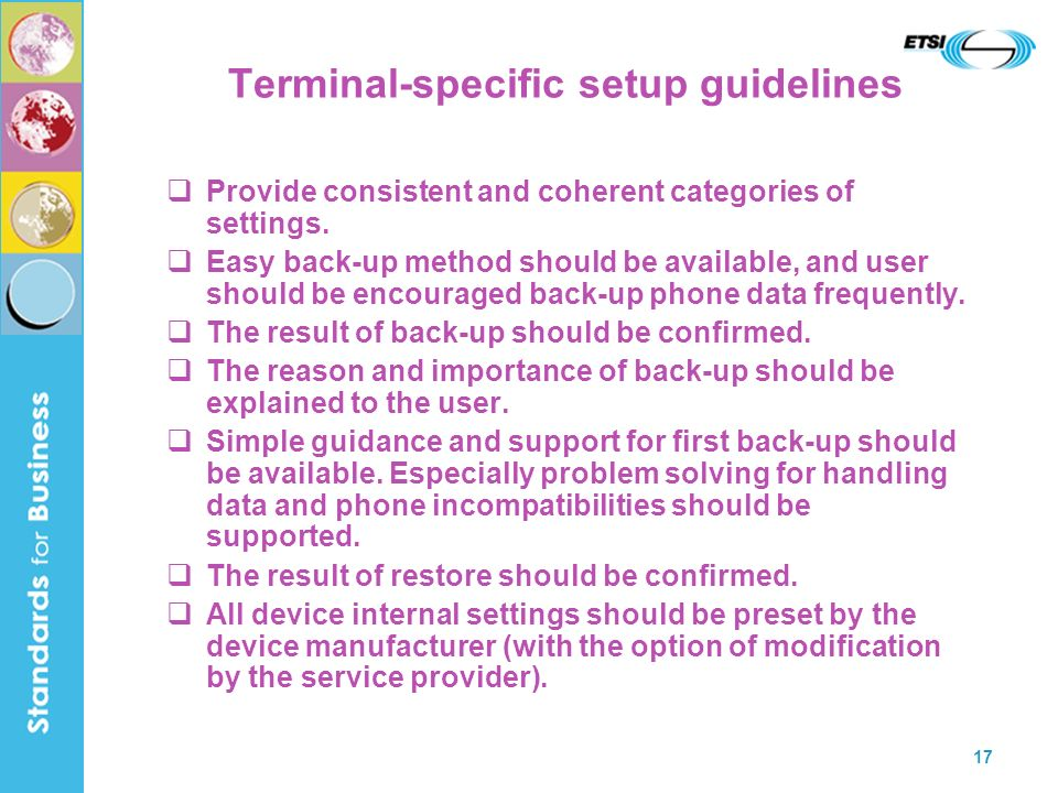 Terminal-specific setup guidelines