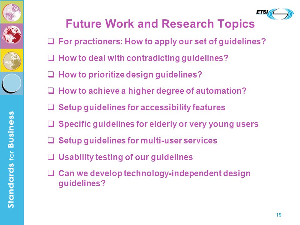 Future Work and Research Topics