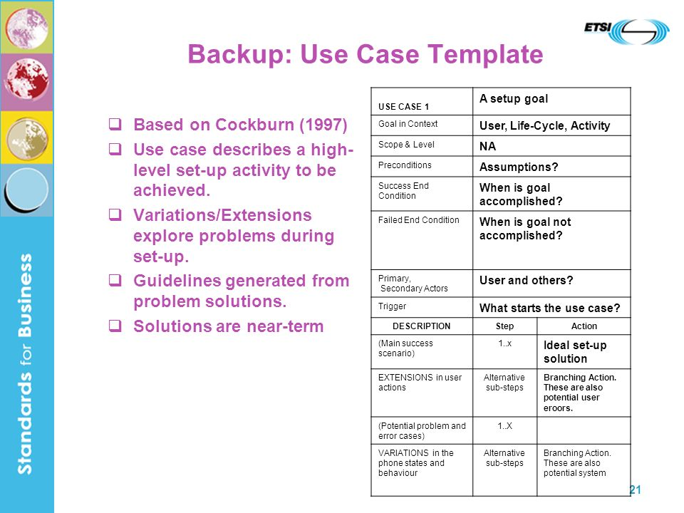 Backup: Use Case Template